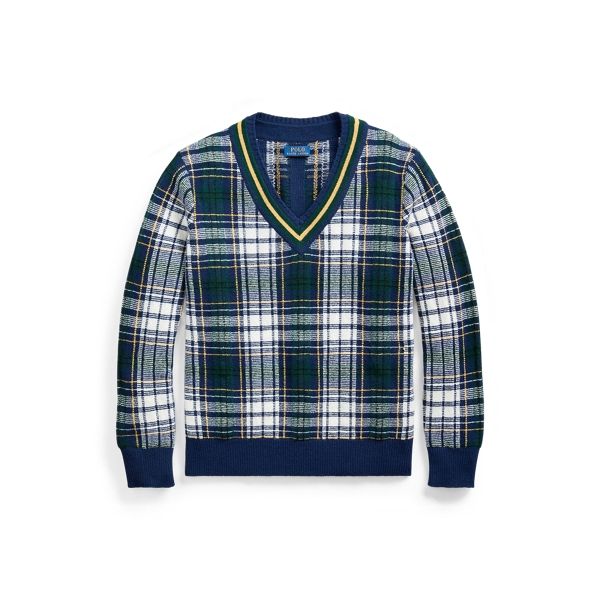폴로 랄프로렌 Polo Ralph Lauren Tartan Wool Cricket Sweater,Bright Navy/Cream Multi