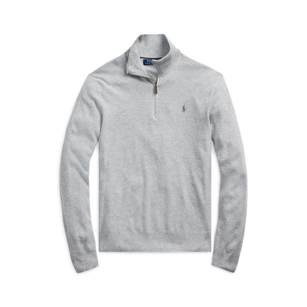 폴로 랄프로렌 Polo Ralph Lauren Silk Quarter-Zip Sweater,Andover Heather