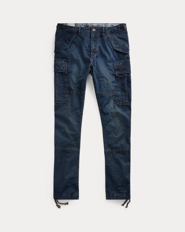Slim Fit Denim Cargo Trousers