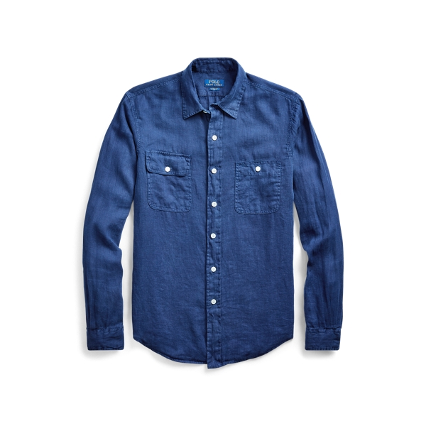 폴로 랄프로렌 Polo Ralph Lauren Classic Fit Linen Workshirt,Newport Navy