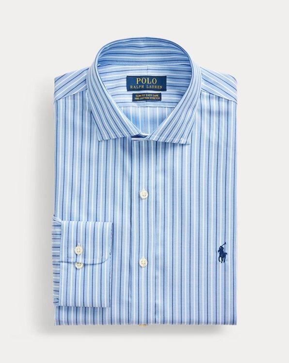 폴로 랄프로렌 Polo Ralph Lauren Slim Fit Striped Dobby Shirt,Ocean Blue/Space