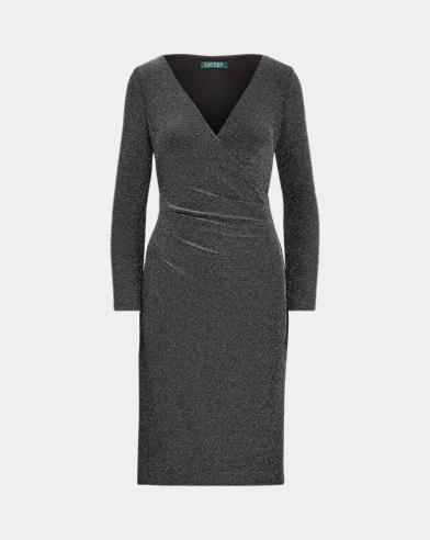 Metallic Surplice Dress