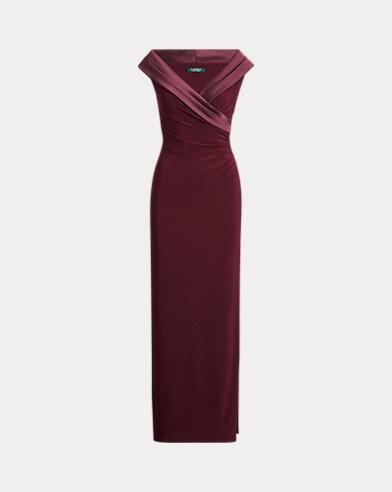 Satin-Trim Jersey Gown