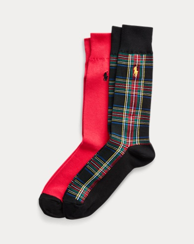 Tartan & Solid Sock 2-Pack