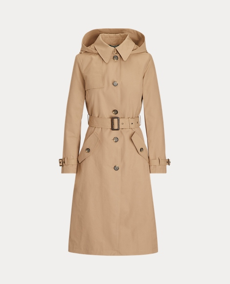 Cotton-Blend Long Trench Coat