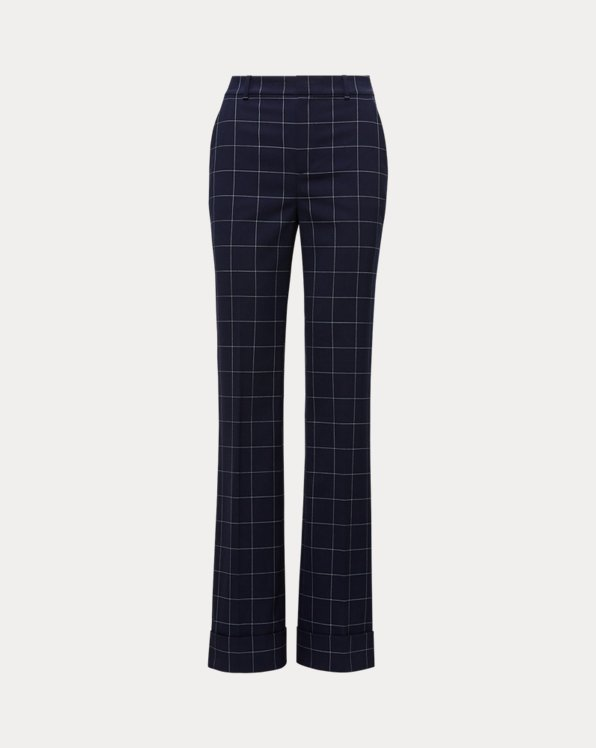 Print Wool-Blend Wide-Leg Trouser