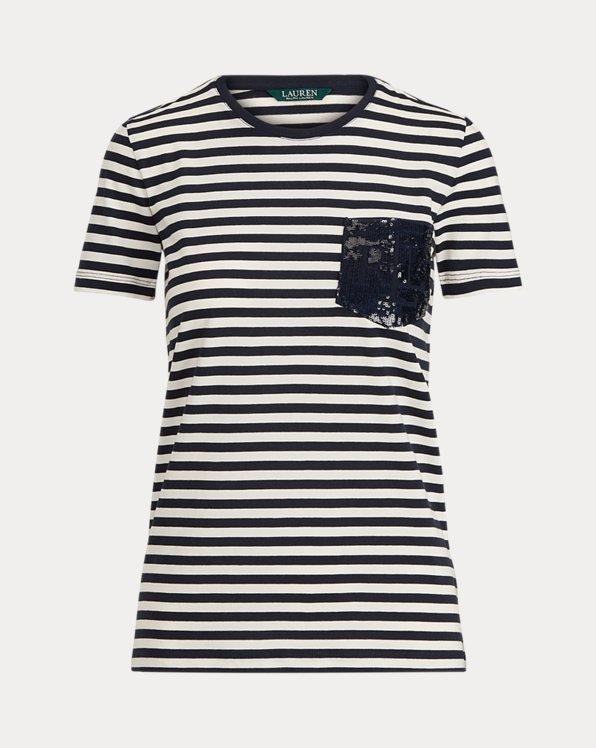 T-Shirt mit Paillettenlogo