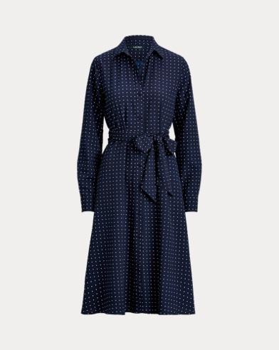 Print Long-Sleeve Shirtdress