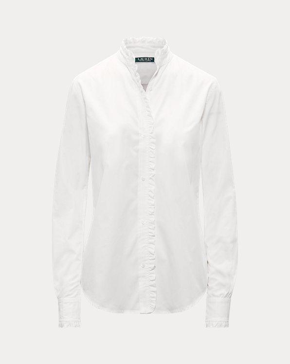 Ruffle-Trim Broadcloth Shirt