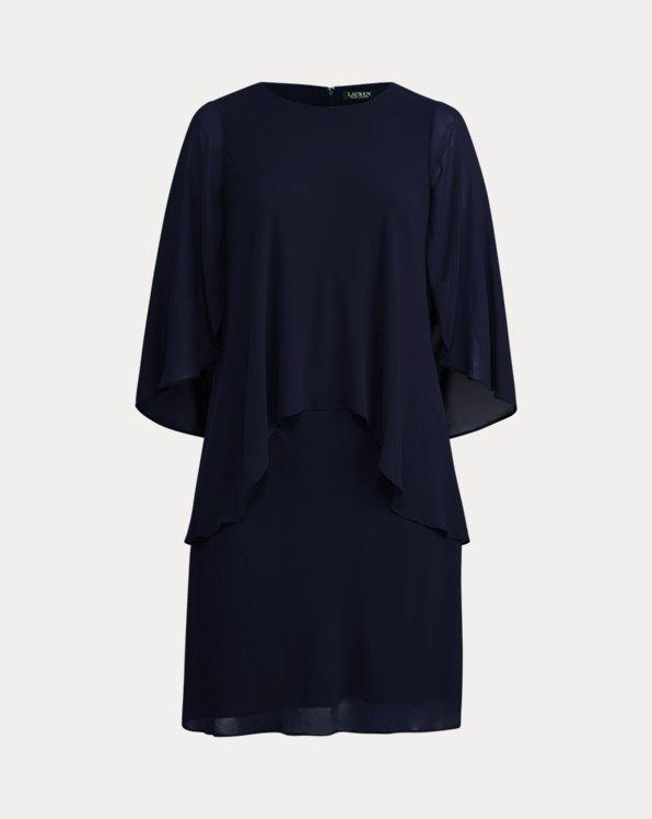 Robe droite en georgette à plusieurs épaisseurs