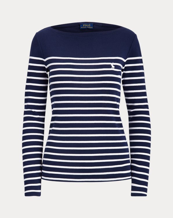 Striped Cotton Boatneck Shirt