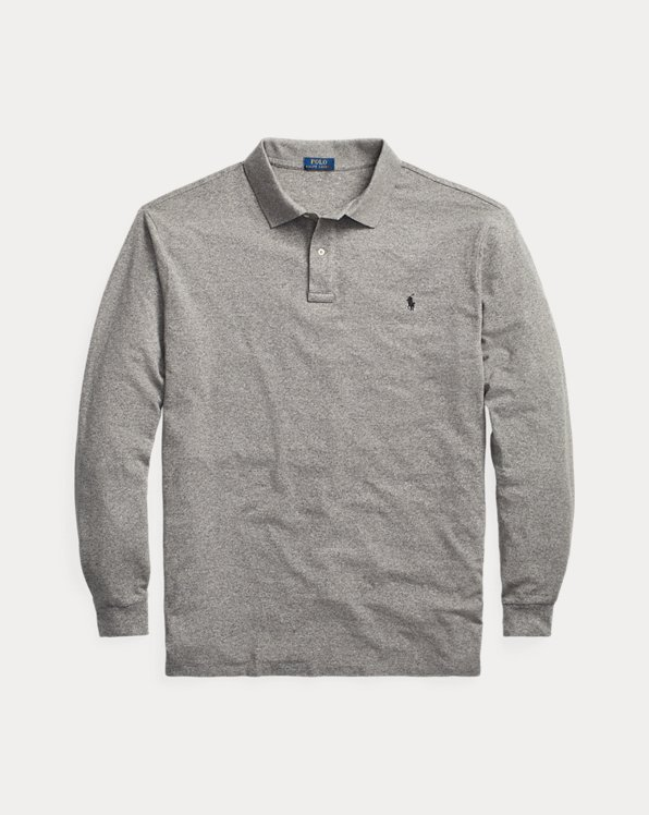 Mesh Long-Sleeve Polo Shirt
