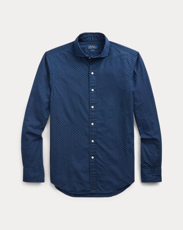 Slim Fit Indigo Dot Shirt