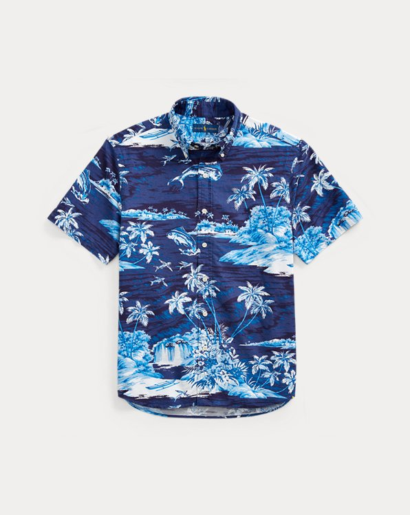 Slim Fit Tropical-Print Shirt
