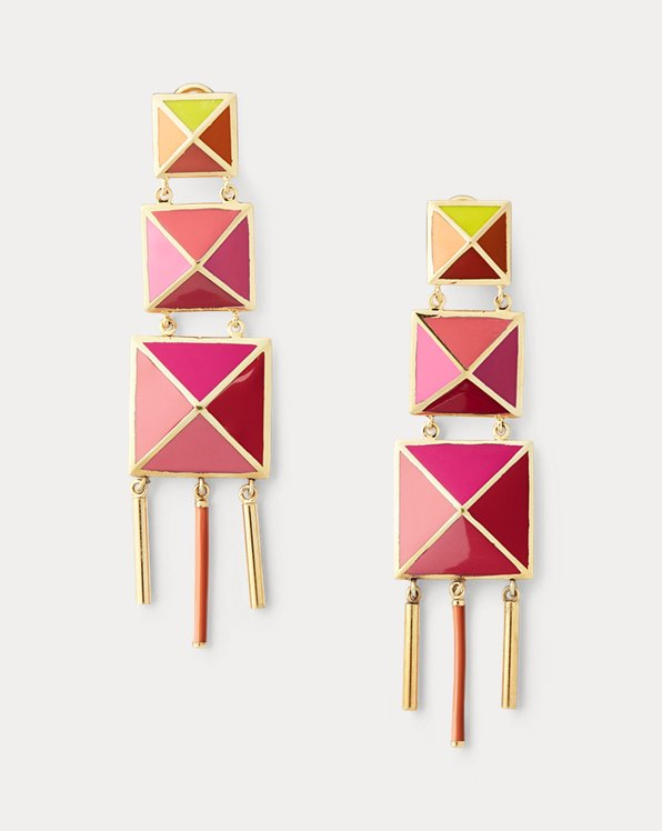 Enamel Tiered-Pyramid Earrings
