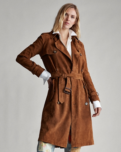 Lamb-Suede Trench Coat