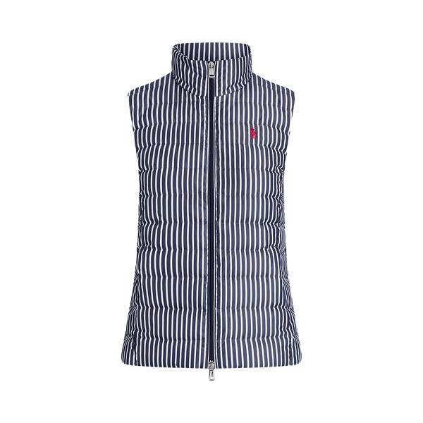 폴로 랄프로렌 조끼 Polo Ralph Lauren Striped Packable Down Vest,Navy/White Stripe