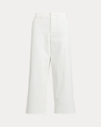 Cropped Wide-Leg Twill Pant