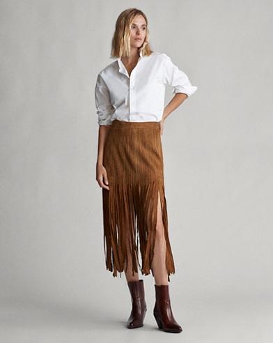 Fringe-Trim Suede Skirt