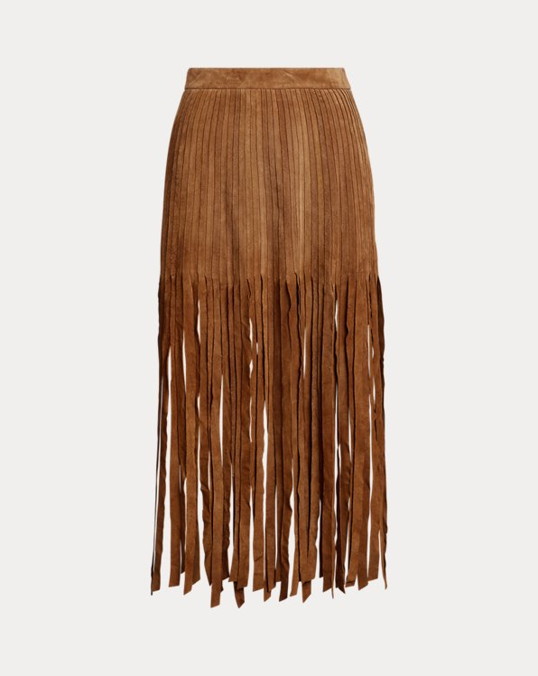 Fringe-Trim Suede Skirt