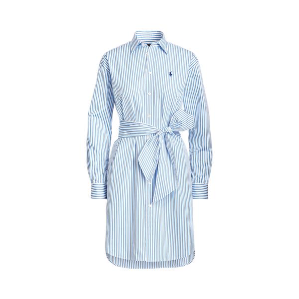 폴로 랄프로렌 Polo Ralph Lauren Striped Belted Shirtdress,White/Blue