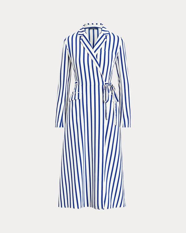 Satin Long-Sleeve Wrap Dress
