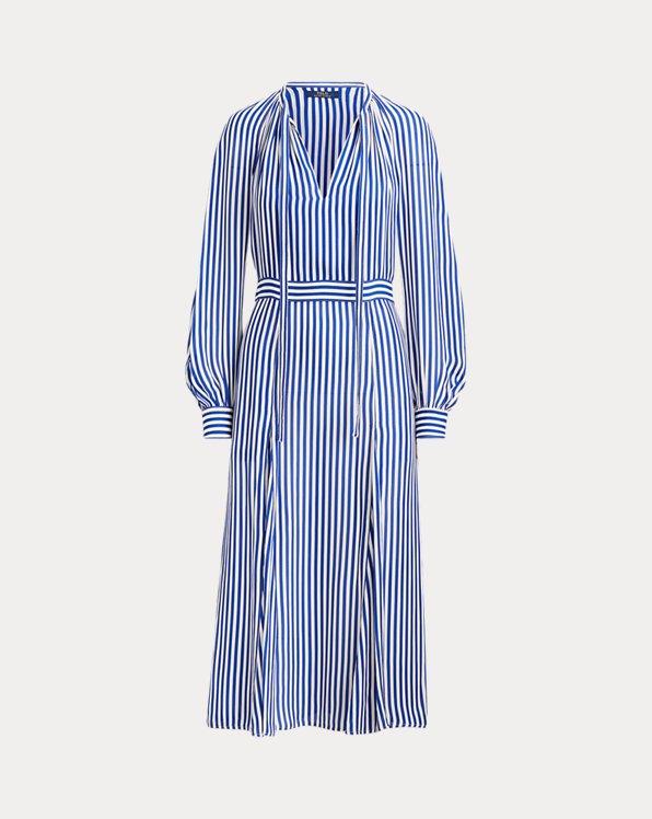 Gestreiftes Kleid aus Seidenmischung