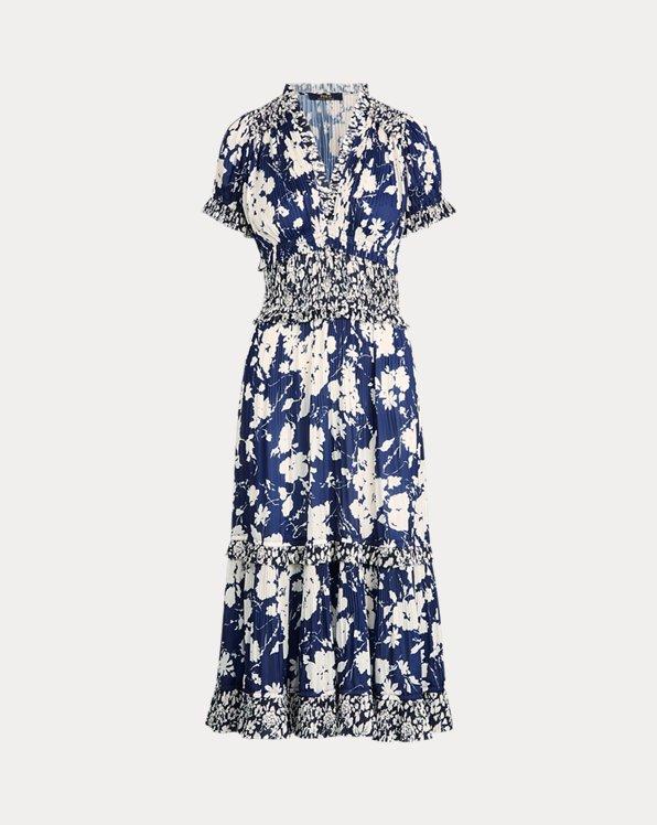 Kleid mit Falten und Blumenmuster