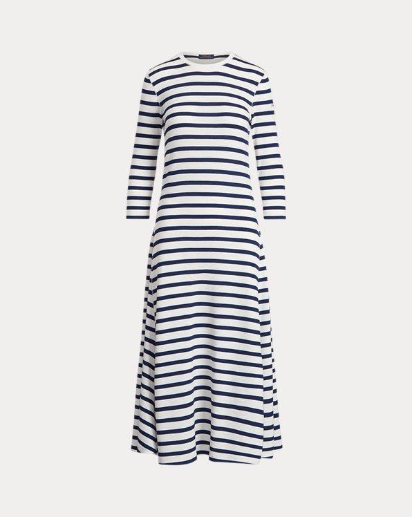 Striped Waffle-Knit Dress