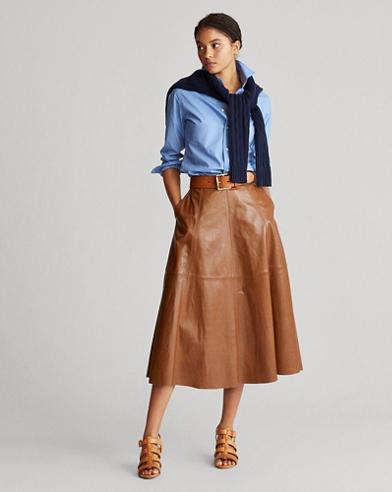 Lambskin A-Line Skirt