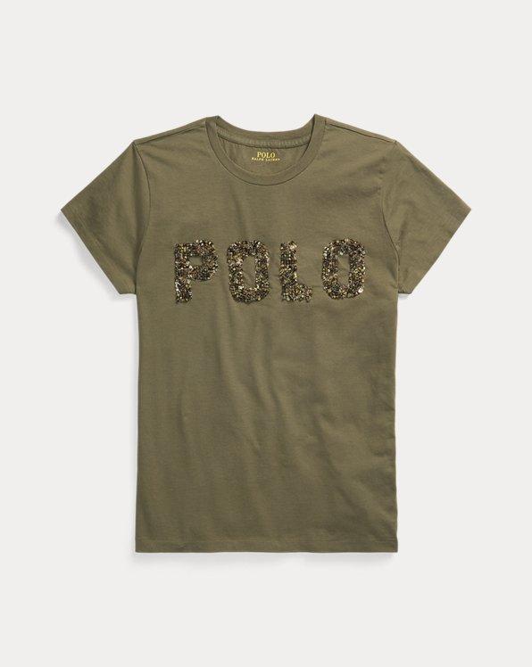 T-shirt en coton logo perlé
