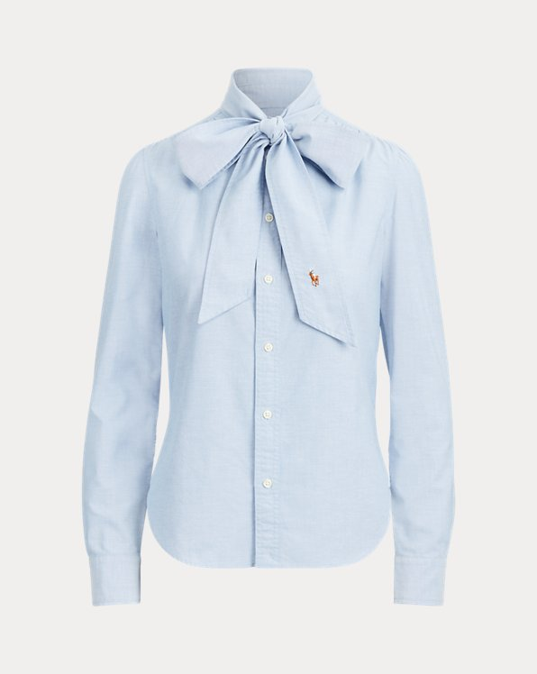 Cotton Tie-Neck Shirt