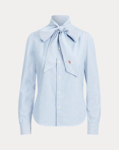 Cotton Tie-Neck Shirt