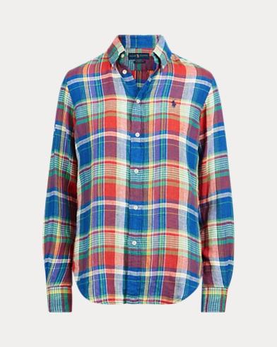Plaid Linen Button-Down Shirt