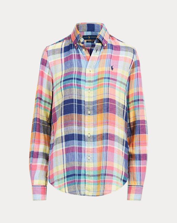 Camisa de lino con estampado madrás