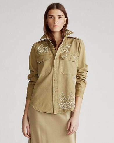 Camisa de sarga con abalorios