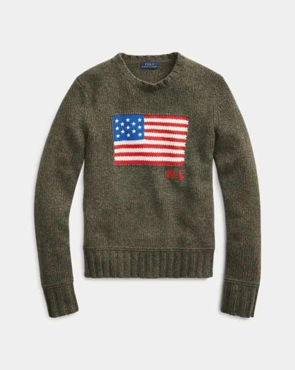 Pull à drapeau en laine mélangée