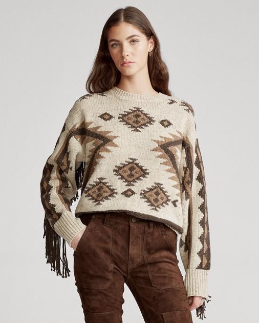 Fringe Trim Wool Sweater by Ralph Lauren