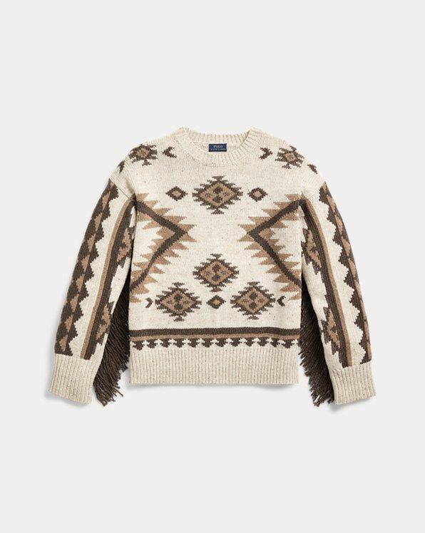 Pull en laine à bordure frangée
