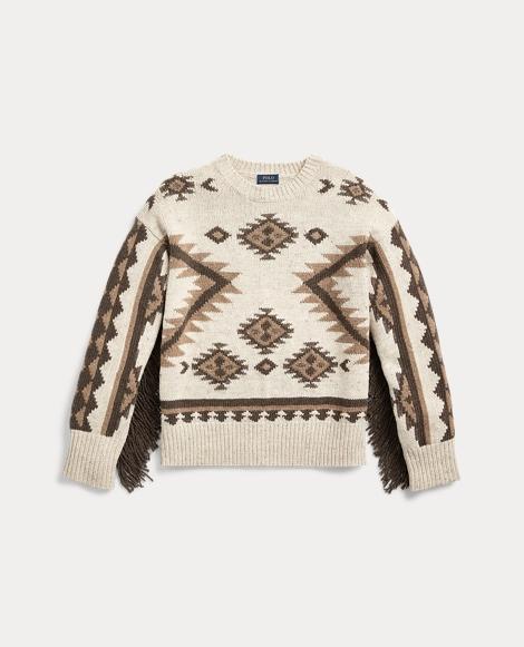 Fringe-Trim Wool Sweater