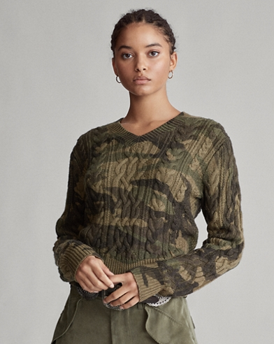 Camo Cable-Knit Sweater