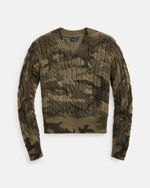 Camo Cable-Knit Jumper