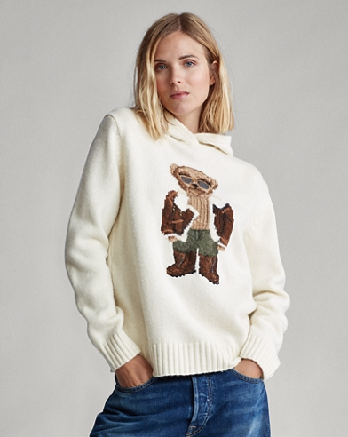 Aviator Polo Bear Knit Hoodie