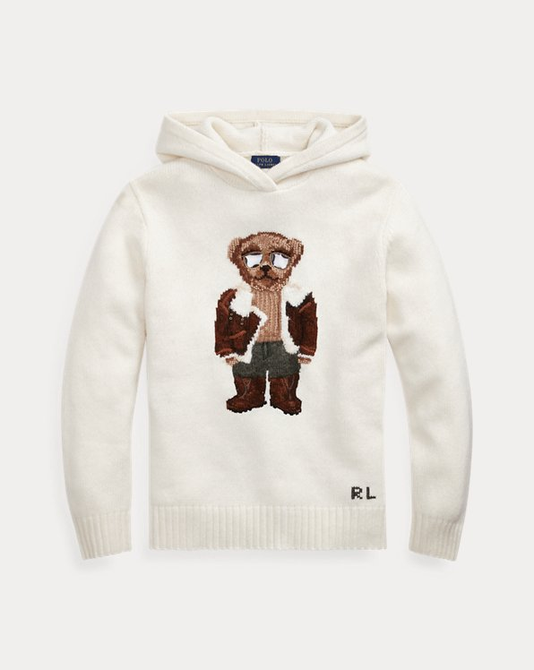 Sweat à capuche en tricot Polo Bear aviateur