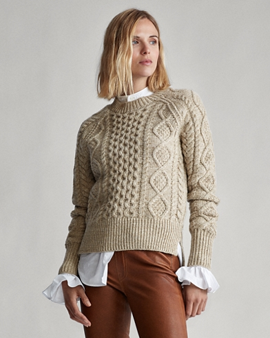 Aran-Knit Wool-Blend Jumper