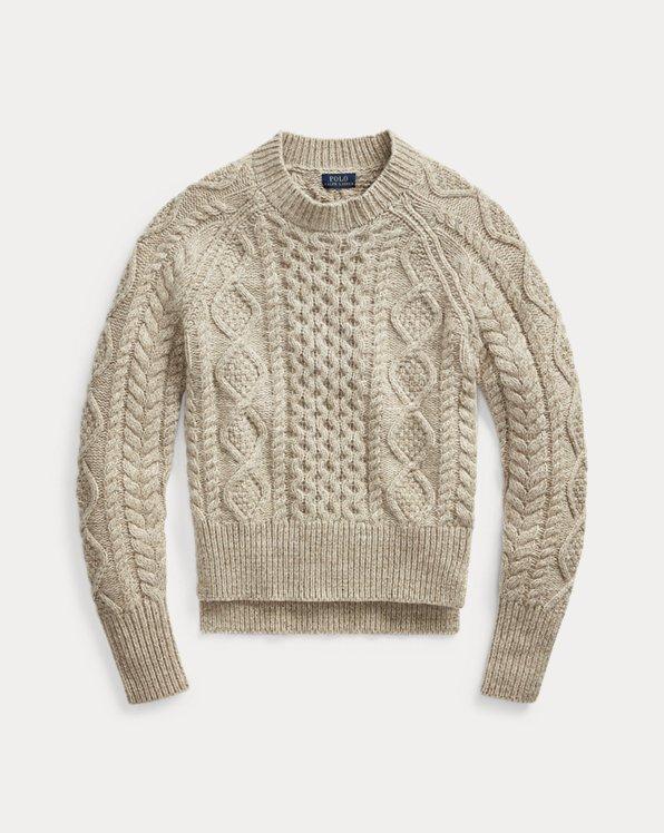 Pull laine mélangée tricot d'Aran