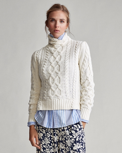 Aran-Knit Turtleneck Sweater