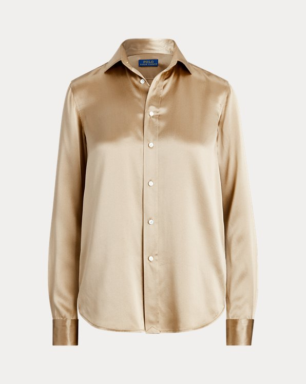 Camisa de charmeuse de seda