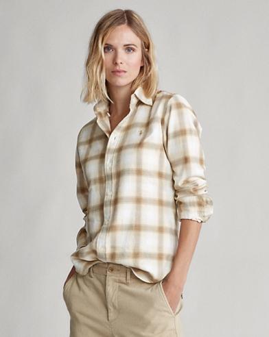Camisa de franela con tapeta de botones