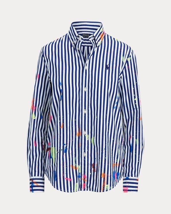 Camicia in cotone con schizzi di vernice